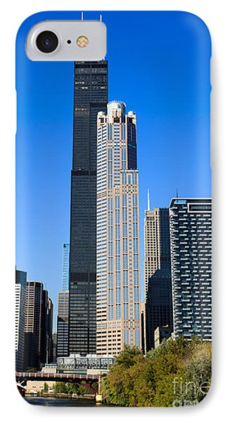 Chicago Cityscape With Sears-willis Tower IPhone Case by Paul Velgos