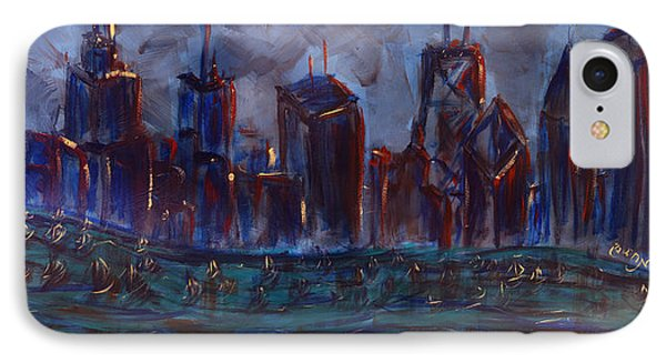 Chicago Night Skyline With Lake Sail Boats On Water Buildings And Architecture In Blue Orange Green  IPhone Case