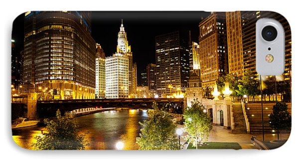 Chicago River Buildings At Night IPhone Case by Paul Velgos