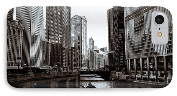 Chicago River Downtown Buildings In Black And White Phone Case by Paul Velgos