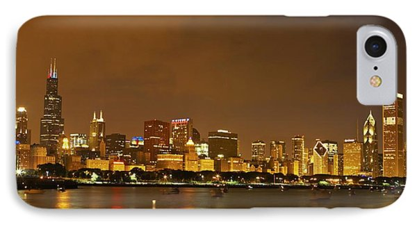 Chicago Skyline At Night Phone Case by Axiom Photographic