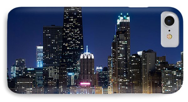 Chicago Skyline At Night With John Hancock Building Phone Case by Paul Velgos