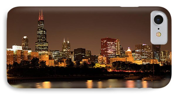 Chicago Skyline Downtown City Buildings At Night IPhone Case by Paul Velgos