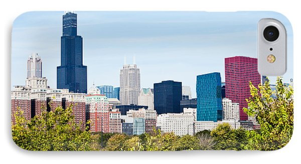 Chicago Skyline With Trees IPhone Case by Paul Velgos