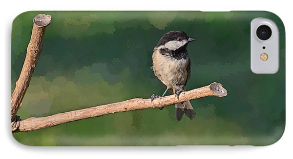 Chickadee On A Stick Phone Case by Debbie Portwood