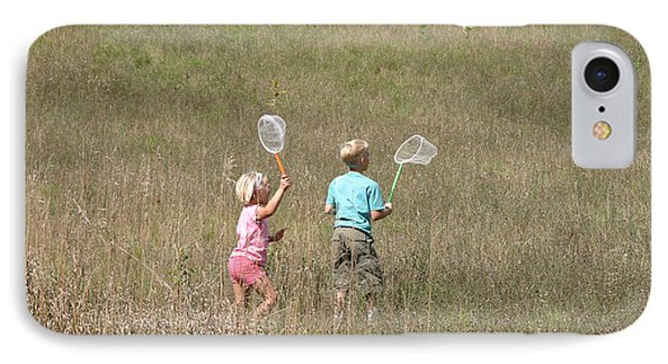 Children Collecting Insects Phone Case by Ted Kinsman