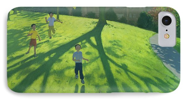Children Running In The Park Phone Case by Andrew Macara