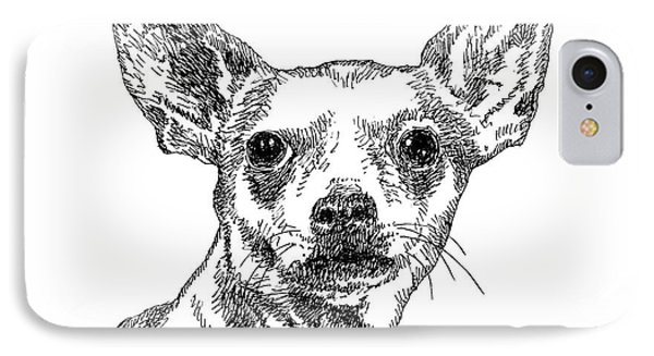 Chiwawa-portrait-drawing IPhone Case by Gordon Punt