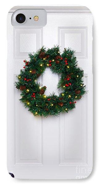 Chrismas Wreath On A White Door IPhone Case by Richard Thomas