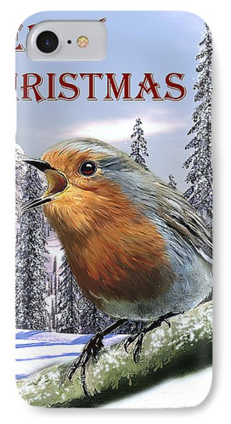 Christmas Card Red Robin Phone Case by Michael Greenaway