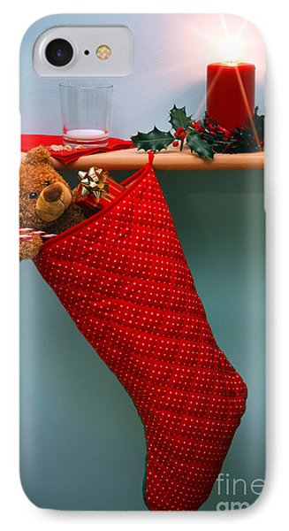 Christmas Stocking Filled With Presents With Empty Milk Glass.  IPhone Case by Richard Thomas