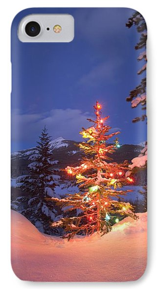 Christmas Tree Outdoors At Night Phone Case by Carson Ganci