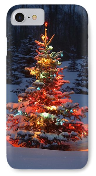 Christmas Tree With Lights Outdoors In Phone Case by Carson Ganci