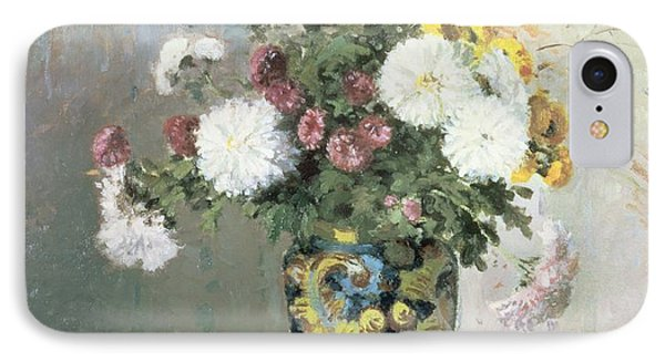 Chrysanthemums In A Chinese Vase Phone Case by Camille Pissarro