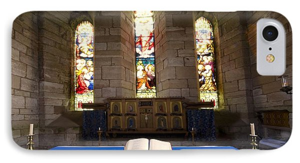 Church And Open Bible, Holy Island Phone Case by John Short