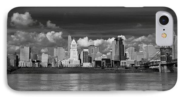 Cincinnati Skyline Bw Phone Case by Keith Allen