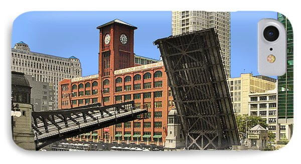Clark Street Bridge Chicago - A Contrast In Time IPhone Case by Christine Till