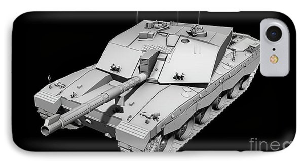 Clay Render Of A Challenger II Tank Phone Case by Rhys Taylor