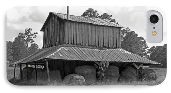 Clewis Family Tobacco Barn In Black And White IPhone Case by Suzanne Gaff