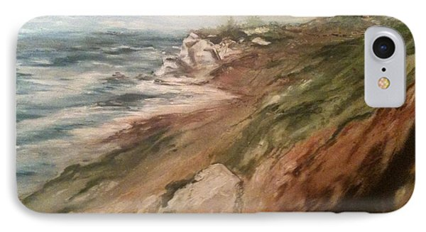 IPhone Case featuring the painting Cliff Side - Newport by Karen  Ferrand Carroll