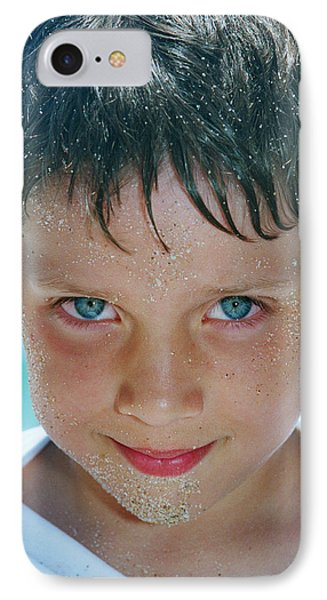 Close Up Of Boy Covered In Sand IPhone Case