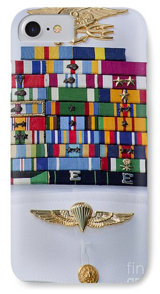 Close-up View Of Military Decorations Phone Case by Michael Wood