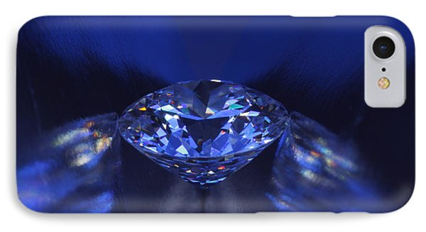 Closeup Blue Diamond In Blue Light. IPhone Case by Atiketta Sangasaeng