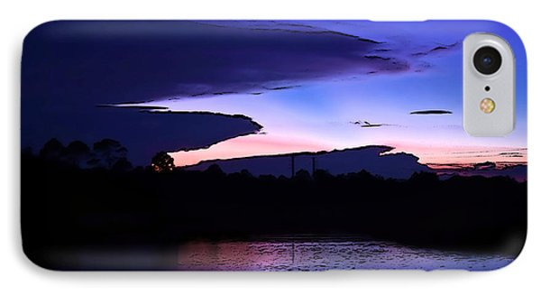 IPhone Case featuring the photograph Clouded Sunset Over The Tomoka by DigiArt Diaries by Vicky B Fuller