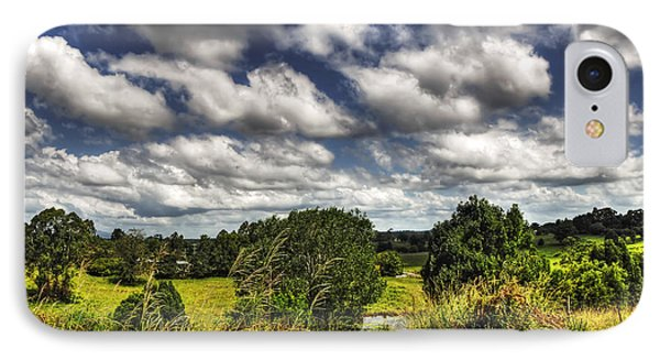Clouds Floating Over Green Countryside Phone Case by Kaye Menner