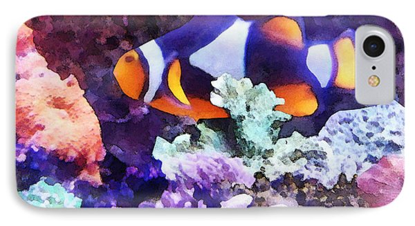 Clownfish And Coral Phone Case by Susan Savad