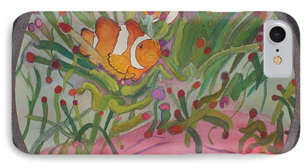 IPhone Case featuring the mixed media Clownfish Seen Through A Lense by Joy Braverman