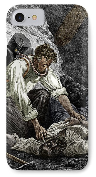 Coal Mine Rescue, 19th Century IPhone Case by Sheila Terry