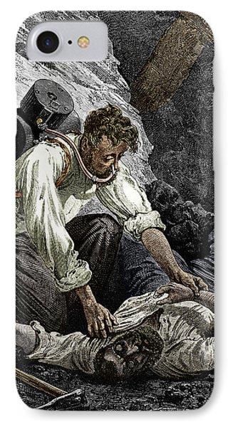 Coal Mine Rescue, 19th Century IPhone Case