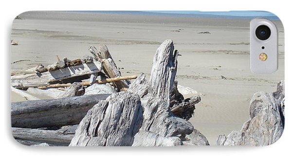 Coastal Driftwood Art Prints Blue Waves Ocean Phone Case by Baslee Troutman