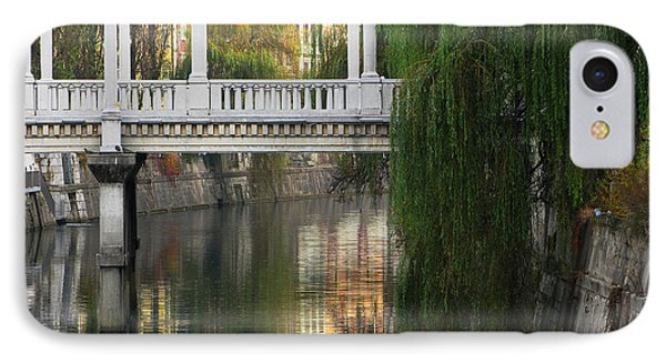 Cobblers Bridge And Morning Reflections In Ljubljana Phone Case by Greg Matchick