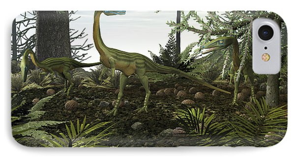 Coelophysis Dinosaurs Walk Amongst Phone Case by Walter Myers