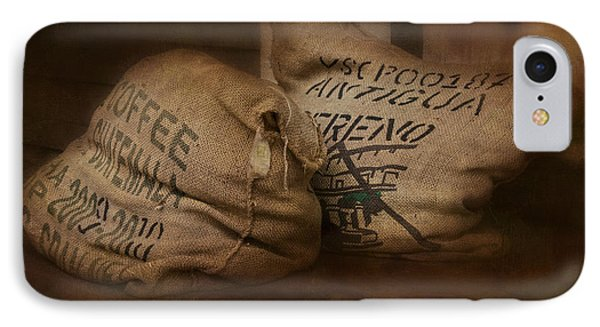 Coffee Beans In Burlap Bags Phone Case by Susan Candelario