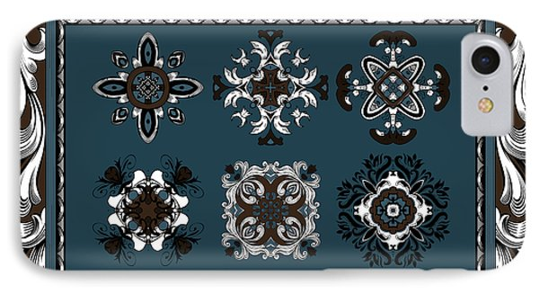 Coffee Flowers Ornate Medallions 6 Piece Collage Mediterranean Phone Case by Angelina Vick
