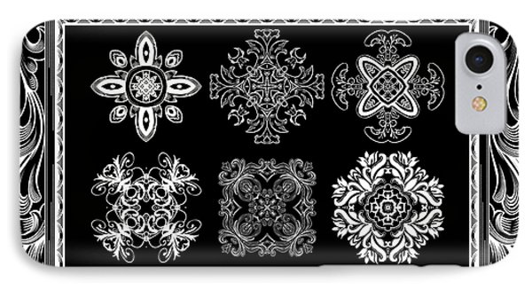 Coffee Flowers Ornate Medallions Bw 6 Piece Collage Framed  Phone Case by Angelina Vick