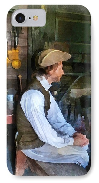 Colonial Man In Kitchen Phone Case by Susan Savad