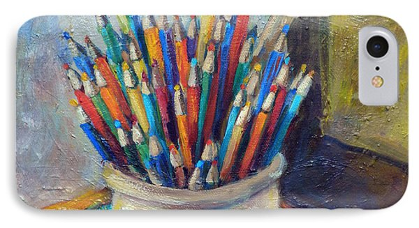 Colored Pencils In Butter Crock Phone Case by Jean Groberg