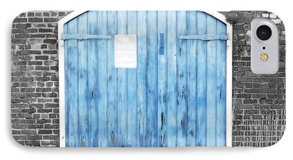 Colorful Blue Garage Door French Quarter New Orleans Color Splash Black And White And Diffuse Glow IPhone Case
