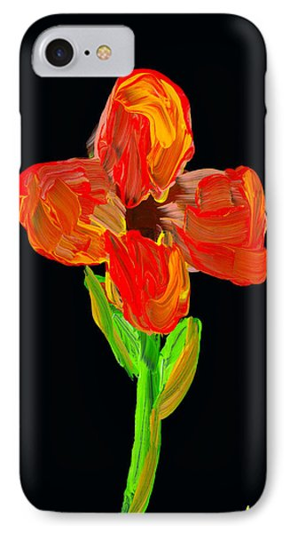 Colorful Flower Painting On Black Background IPhone Case