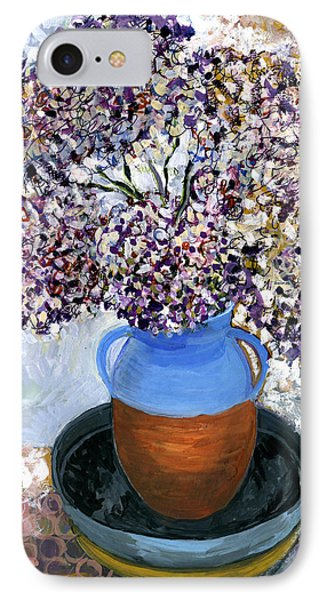 Colorful Impression Of Purple Flowers In Blue Brown Ceramic Vase Yellow Plate With Green Branches  IPhone Case by Rachel Hershkovitz