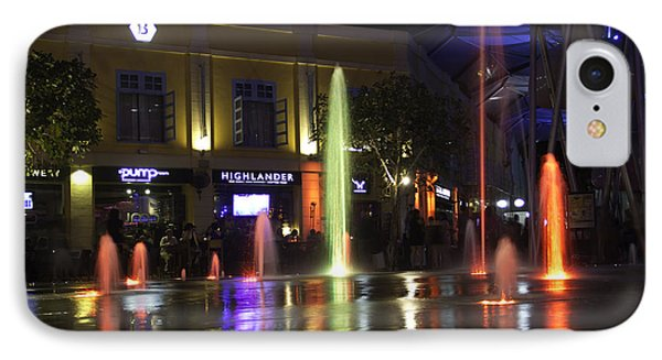 Colorful Water Jets At Clarke Quay In Singapore Phone Case by Ashish Agarwal