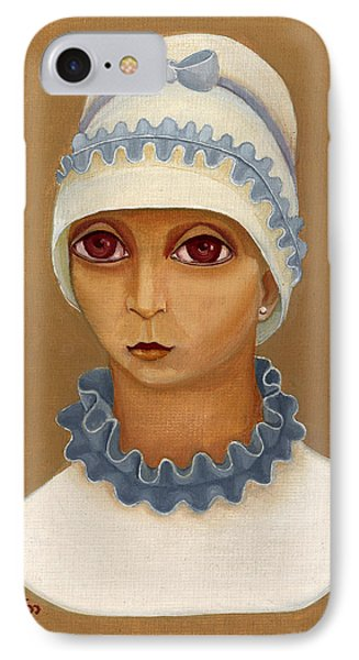 Colorful Young Woman Brown Eyes Blue White Hat Collar  With Ribbon Small Lips IPhone Case by Rachel Hershkovitz