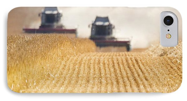 Combines Harvesting Field, North Phone Case by John Short