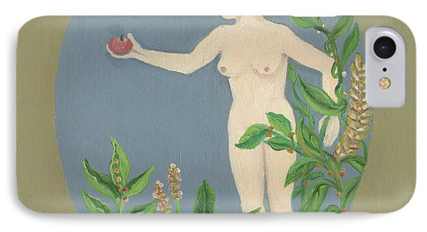 Come And Get It Eva Offers A Red Apple  To Adam In Green Vegetation Leaves Plants And Flowers Blond  Phone Case by Rachel Hershkovitz