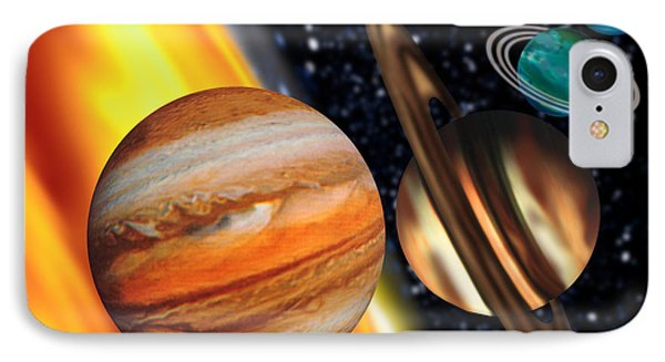 Computer Artwork Showing Relative Sizes Of Planets Phone Case by Victor Habbick Visions