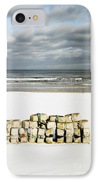 IPhone Case featuring the photograph Concrete Bricks On A Snowy Beach by Agnieszka Kubica